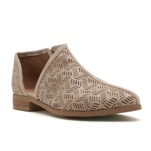 Shoes - Stone Vegan Leather Perforated Slip On Booties